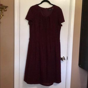 Ellen Tracy Size 16 Burgundy Wool Dress